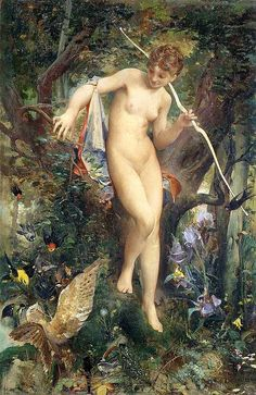 In Roman mythology, Diana was the goddess of the moon, the woodlands, of wild animals, and of hunting.
