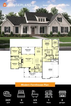 Looking for barndominium ideas? Check out this modern farmhouse plan. This farmhouse barndomonium gives you a contemporary farmhouse exterior and a modern farmhouse design interior. Click the image for more details. Questions? Call 1-800-913-2350 today. #blog #architecture #modern #bungalow #architect #architecture #buildingdesign #country #craftsman #houseplan #homeplan #house #home #homeblog Contemporary Farmhouse Exterior, Modern Farmhouse Design, Modern Farmhouse Kitchens, Farmhouse Style, Texas Style Homes, Texas Homes, Modern Bungalow, Country House Plans, Barndominium