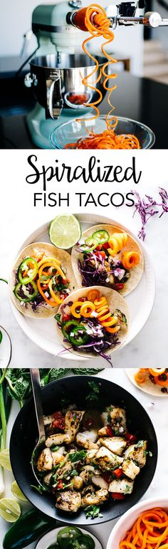 Fish Tacos with Spiralized Quick-Pickled Carrots – Take Taco Tuesday to the next level with a Vietnamese twist. These tacos are loaded with white fish, green onions, diced tomatoes, pickled carrots and plenty of flavor.