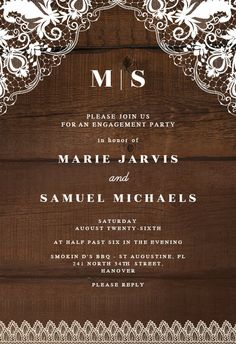 Rustic Lace - Engagement Party Invitation #invitations #printable #diy #template #Engagement #party #wedding Western Invitations, Lace Wedding Invitations, Engagement Party Invitations, Wedding Invitation Templates, Response Cards, Wedding Engagement, Rustic Wedding, Island, Western Wear