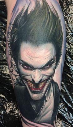 Made by Max Pniewski Tattoo Artists in Bristol, UK Region Jester Tattoo, Clown Tattoo, Heath Ledger Tattoo, Joker Stencil, Pennywise Tattoo, Joker Drawings, Peacock Feather Tattoo, Joker Images, Movie Tattoos