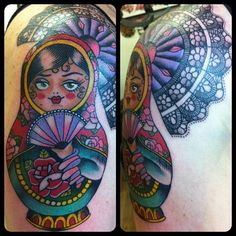 Russian Doll with lace detail.