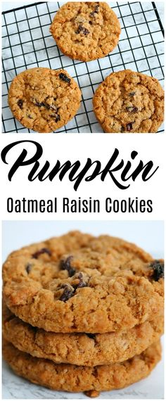 If you like pumpkin and oatmeal raisin cookies, you will love this mash up- pumpkin oatmeal raisin cookies. Moist, delicious and a true taste of fall. #cookies #pumpkin #holiday #fall #recipes