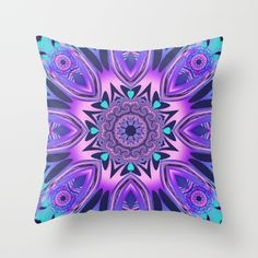 The floral kaleidoscope in pink, purple, blue and turquoise Throw Pillow