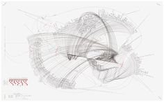 WV 2012-141 Ludwig van Beethoven/ Sonate Nr. 2 (Opus 2 Nr. 2) Allegro vivace 2/4 Largo appassionata 3/4 Allegretto 3/4 Rondo grazioso 4/4 Extract Intonation; Himmelsrichtung; Internes Zentrum; Externes Zentrum; Rotationsrichtung; Rotationsgeschwindigkeit 1-2 Umdrehungen/ Stunde; Beat; Loop Jorinde Voigt Berlin 2012 86,5 x 140 cm Tinte, Bleistift auf Papier Unikat Signiert