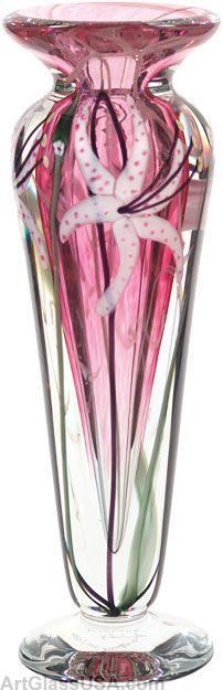 Floral art glass vases from Doug Merritt - Vandermark Merritt Glass