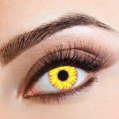 aricona N°338 - Farbige 12-Monats Kontaktlinsen Paar ohne Stärke, weich und angenehm zu tragen, Wassergehalt: 42%, Gelb