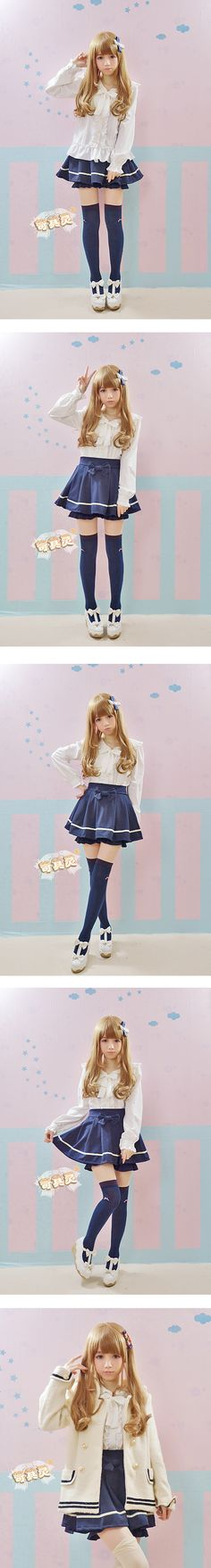 Cute, sweet gyaru: Off white blouse with frills. Navy skirt with white details. Off white shoes with a bow. Gyaru Fashion, Harajuku Fashion, Kawaii Fashion, Lolita Fashion, Cute Fashion, Looks Kawaii, Kawaii Cute, Kawaii Girl, Kawaii Style