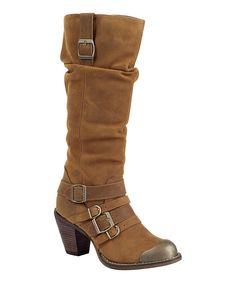 Loving this Durango Camel Strappy Slouch Leather Boot - Women on #zulily! #zulilyfinds