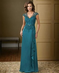Elegante cor vermelho 2015 Lace Chiffon longo Appliqued mãe da noiva vestidos Plus Size