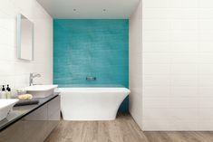 Barevné koupelny jsou opět trendy. Barevná série obkladů Cloud vám rozveselí jak koupelnu, tak třeba kuchyň. Na výběr máte z 6 barevných provedení ve formátu 20 x 50 cm. #keramikasoukup #koupelnyodsoukupa #seriecloud #inspirace #inspiracekoupelny Beach Bathrooms, Antibes, Light Reflection, Stone Tiles, Wall Tiles, Home Interior Design, Small Spaces, Toilet, New Homes