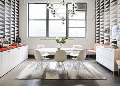 Twelve NYC's Pretty Office Upgrade - Storage and chic details go a long, long way. - New York City City Office, Home Office, Office Inspo, Cole And Son, Office Workspace, Commercial Design, Office Interiors, Decoration, Contemporary Design