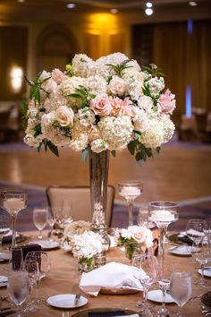 peach, ivory, green floral centerpieces, ballroom wedding, tall centerpieces, mercury glass vases // Events by Satra // Nicole Ha Floral Design // Karl Ko Photography