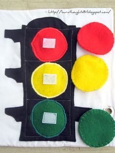 Stoplight color matching - quiet book page maybe try a rainbow to match colors