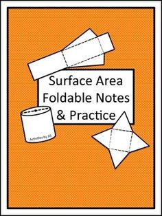 A structured approach to teaching surface area can make it so much easier for students to understand! These materials lend themselves to use in interactive notebooks.  These foldable notes, examples, and practice problems feature a structured step by step format to guide student thinking as they calculate the surface area of each figure. Students will find the surface areas of prisms, pyramids, cylinders, cones, and spheres.