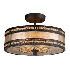 ELK Lighting 70065-2 Two Light Mica Filigree Semi-Flush Ceiling Light