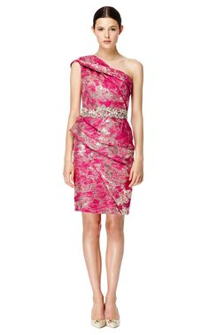 One Shoulder Metallic Brocade Dress by Marchesa Now Available on Moda Operandi