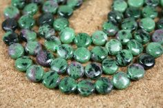 Ruby in Zoisite Smooth Coin Green Pink Black, 6x2mm, 15.5 strand