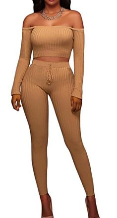 68dbabae42 UUYUK-Women Sexy 2 Piece Bodycon Off Shoulder Long Sleeve Ribbed Jumpsuit