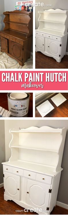 Our Chalk Paint Hutch Makeover will make you want to start painting! Rustic Wall Shelves, Reclaimed Wood Shelves, Diy Hanging Shelves, Chalk Paint Hutch, Painted Hutch, Painted Furniture, Painted Wood, Annie Sloan, Dollar Tree Storage Bins