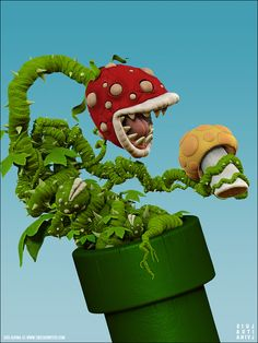wow, digital 3d rendering of a piranha plant from Mario. :)