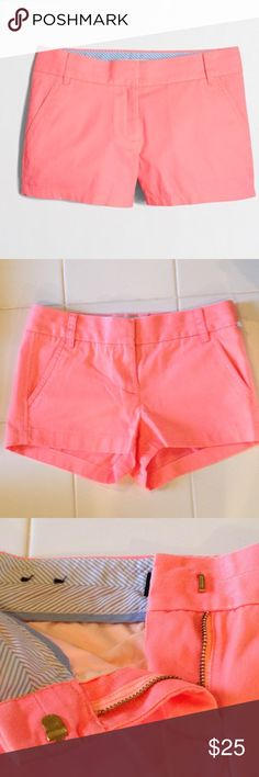 NWOT J. Crew Chino Shorts Size 00 Brand new! Never worn! Tag came off :( Can still see where it was attached.  Chino Shorts by J. Crew Bright, neon orange/pink Size 00 J. Crew Shorts Skorts