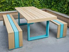 White Oak Table- is this picnic table not fun? From Scout Regalia White Oak Table- is this picnic t Outdoor Table Settings, Outdoor Dining Set, Patio Dining, Outdoor Tables, Outdoor Decor, Patio Table, Picnic Tables, Patio Bench, Dining Sets