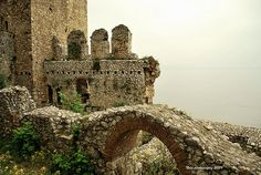 Remains of Golubac fortress from 14th century on the banks of Danube river.