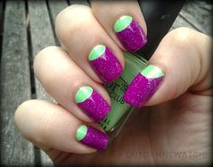 purple & green half moon manicure