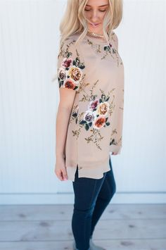 Our classic chiffon hem floral top will soon be a favorite in your closet!  It is available in 3 gorgeous colors!
