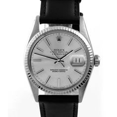 @Overstock.com - Pre-owned Rolex Men's Stainless Steel Datejust Watch - This classy men's pre-owned Rolex Datejust watch features a stainless steel case with a white gold fluted bezel and brand new black leather strap. The combination of the specifications gives this vintage timepiece a modern fashion.  http://www.overstock.com/Jewelry-Watches/Pre-owned-Rolex-Mens-Stainless-Steel-Datejust-Watch/8285942/product.html?CID=214117 $3,129.99