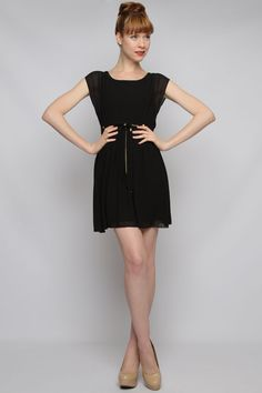 Casual Little Black Chiffon Dress