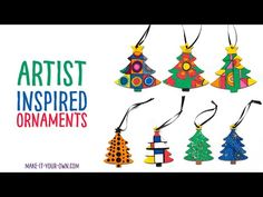 Make these artist inspired Christmas Tree ornaments for a handmade holiday gift! We feature ones inspired by: - Georgia O'Keeffe - Sonia Delaunay - Henri Mat. Childrens Christmas Crafts, Christmas Activities For Kids, Kids Christmas, Christmas Tree Ornaments, Crafts For Kids, Holiday Day, Holiday Gifts, Fine Point Pens, Wooden Ornaments