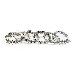 Metallic Daze Set Of 6 Silver Expandable Wire Bangle