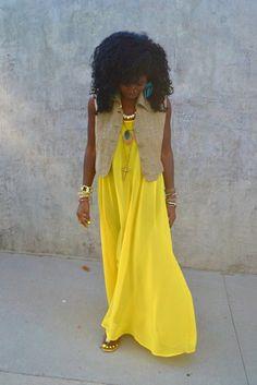 Loving a boho styled yellow maxi.