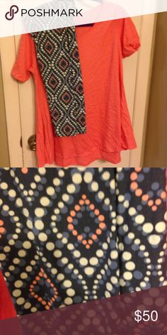 Lularoe outfit L Perfect/ TC leggings Perfect Tee and leggings.  Both GUC, worn and washed once.  Shirt is coral Heather and leggings are grey with coral.  Smoke free/pet free.  Will sell separately. LuLaRoe Other