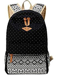 Minch Polka Dot School Backpack- peofessional Canvas 14' Laptop napsack college Backpack *** Find out more about the great product at the image link.