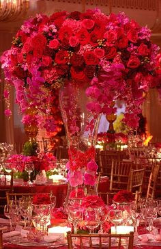 LIFE LOVE PEACE HAPPINESS, (via Beautiful tall centerpiece with roses   Best...