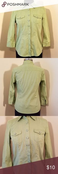 """Liz&Co, Stretch Lime Green Dot Button Shirt, Small Great used condition. No rips stains or tears.  Fern green blouse with tiny white dots, 3/4 sleeve, 5 decorative buttons at the top and 4 hidden on the lower half.   97% cotton, 3% spandex.  18"""" bust.   Size small by Liz & Co. Liz Claiborne Tops Button Down Shirts"""