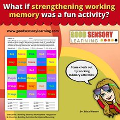 Come check out these fun working memory activities by educational therapist, Dr. Erica Warren! #workingmemory #memory #improve memory Memory Strategies, Memory Problems, Working Memory, Reading Specialist, Academic Success, Math Facts, Learning Disabilities, Teacher Resources, Memories