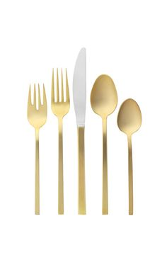 Gold Flatware Place Setting from West Elm. Saved to design. Shop more products from West Elm on Wanelo. Gold Flatware, Flatware Set, Silverware Sets, Modern Flatware, Food Storage Boxes, Ideas Prácticas, Place Settings, Table Settings, West Elm
