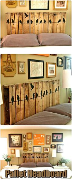 Wooden Pallet Headboard with Bird Art - 150 Best DIY Pallet Projects and Pallet Furniture Crafts - Page 56 of 75 - DIY & Crafts