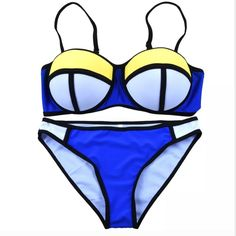 Neoprene Style Push-up Bikini Set - M Blue/yellow/white neoprene style bikini set has padded push-up bra, fits 34-36, waist 26-28, hips 34-38 Unbranded Swim Bikinis