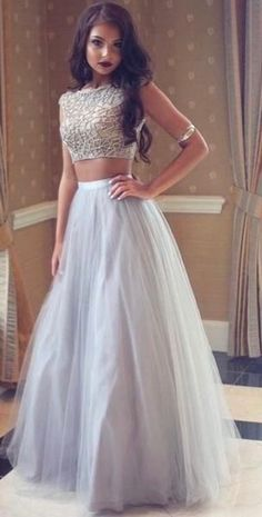 f67266e584 Silver Beaded Two Pieces Long A-line Tulle Prom Dresses
