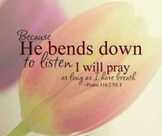 He bends down to listen