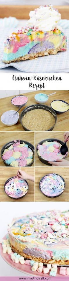 Baking Unicorn Cheesecake: A simple recipe for your next unicorn party! - Where are the unicorn freaks? At the latest after my unicorn donuts and unicorn easter eggs last mo - Sweet Recipes, Cake Recipes, Dessert Recipes, Dessert Blog, Kids Meals, Easy Meals, Gateaux Cake, Cake & Co, Ice Cream Party
