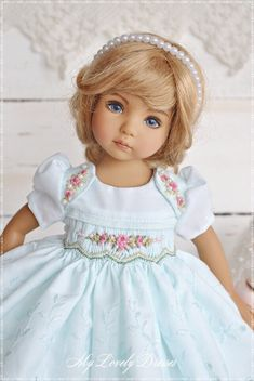 Summer Smocked Dress For Dianna Effner Little Darlings 13 Inch Little Darling Doll Clothes Blue dress Dress with embroidery Baby Dress Design, Baby Design, Doll Fancy Dress, Blue Dresses, Flower Girl Dresses, Smocking Patterns, American Doll Clothes, Madame Alexander Dolls, Knitted Dolls