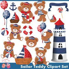 Sailor Teddy Clipart Set - Cliparts - Mygrafico.com
