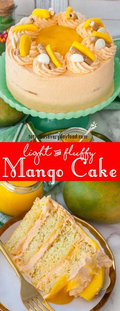 The fluffiest and creamiest mango cake! This delicate cake is made with vanilla sponge cake layers, mango frosting and mango puree! Winter Desserts, Fun Desserts, Dessert Recipes, Mango Recipes, Juice Recipes, Detox Recipes, Summer Recipes, Beef Recipes, Salad Recipes