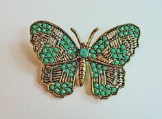 Vintage Green and Gold Butterfly Brooch  60s Bug by RetrofitStyle